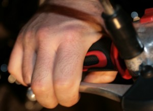A scooter brake being applied