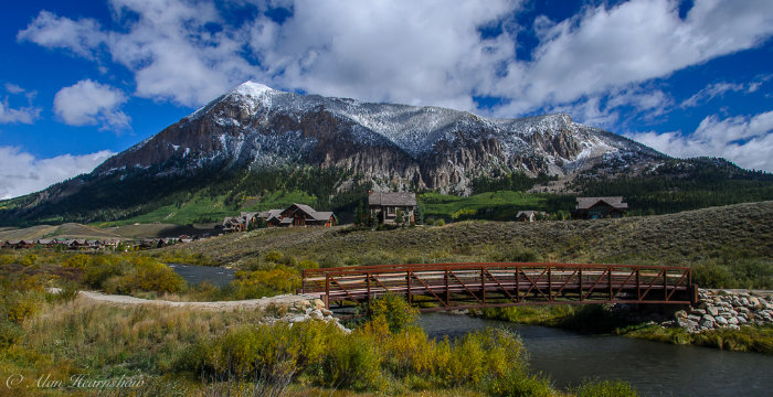 A pretty footbridge in front of a mountain. Crested Butte, Colorado