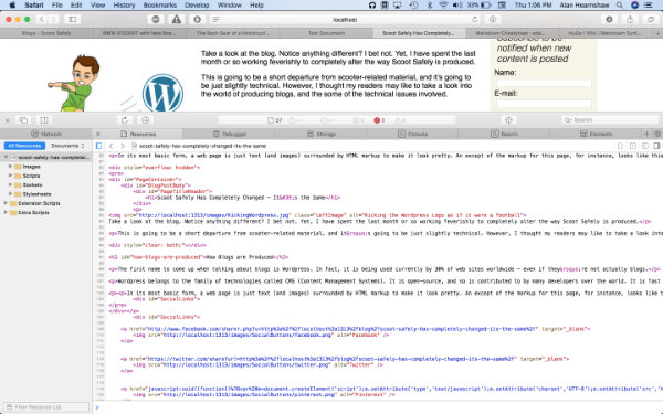 Page showing HTML markup