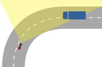 Scooter taking a right-hand bend while on the left part of his lane