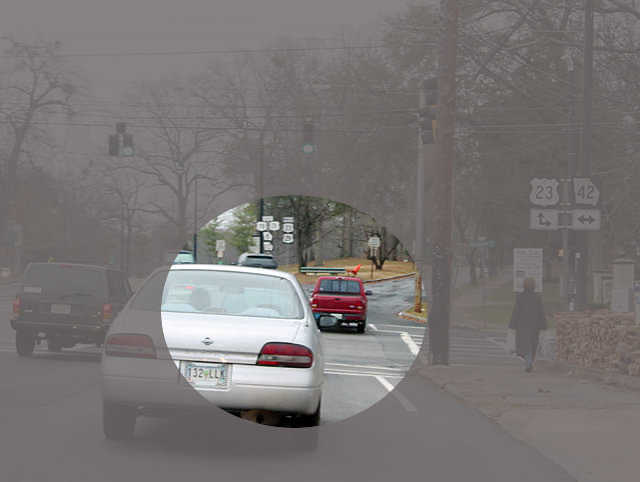 Road scene showing single area of concentration