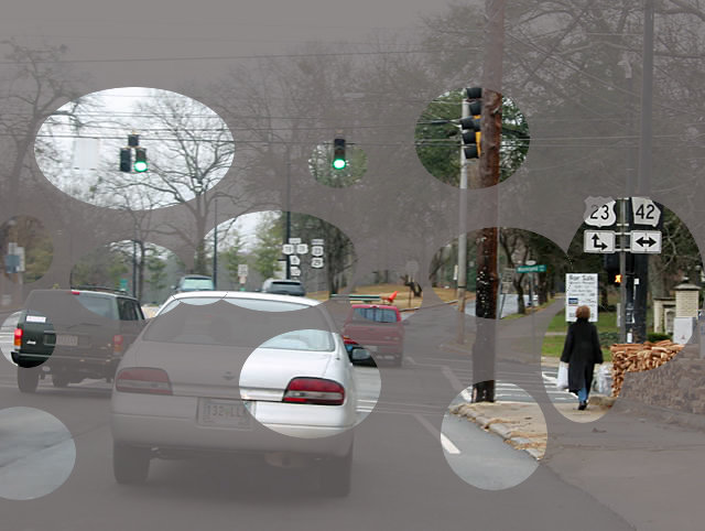 Road scene showing multiple areas of concentration