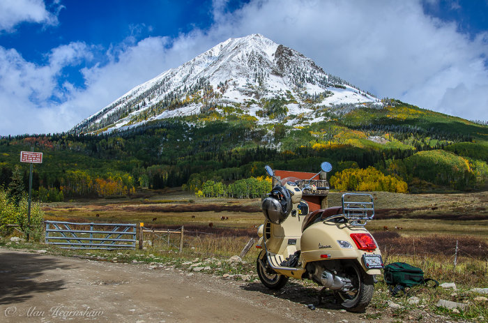 Vespa scooter at Crested Butte, Colorado