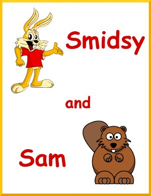 graphic showing cartoon characters Smidsy and SAM