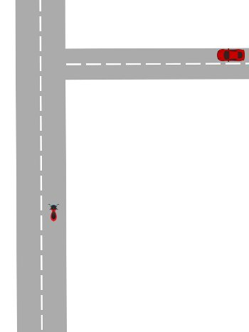 Diagram showing a scooter approaching a road on the right where a car is approaching.