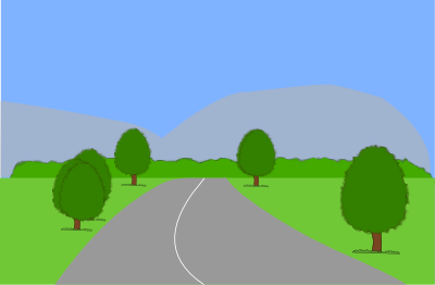 View of a road with an unbroken hedge in the distance in front of you